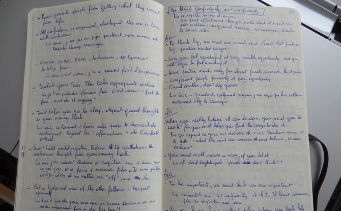 Mes notes Moleskine